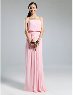 cheap Going Neutral-Sheath / Column Strapless Floor Length Chiffon Bridesmaid Dress with Pleats by LAN TING BRIDE®