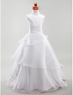 cheap Communion Dresses-A-Line Princess Floor Length Flower Girl Dress - Satin Sleeveless Jewel Neck by LAN TING BRIDE®