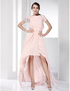 cheap Special Occasion Dresses-Sheath / Column Bateau Neck Asymmetrical Chiffon Prom / Formal Evening Dress with Sequin Ruched by TS Couture®