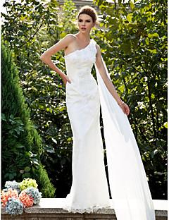 tanie Pierwszy taniec-Syrena Na jedno ramię Tren sweep Koronka Niestandardowe suknie ślubne z Kwiat przez LAN TING BRIDE®