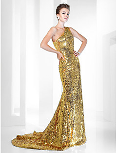 cheap Special Occasion Dresses-Mermaid / Trumpet One Shoulder Sweep / Brush Train Sequined Formal Evening Dress with Sequin by TS Couture®