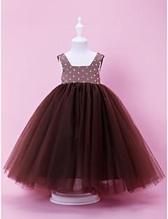 billige Skjørt-A-line ball gown gulvlengde blomst jente kjole - tulle ermeløs firkantet hals ved lan ting bride®