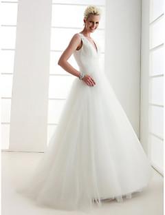 billiga Balbrudklänningar-A-linje / Prinsessa V-hals Golvlång Tyll Bröllopsklänningar tillverkade med Bård / Korsvis av LAN TING BRIDE® / Öppen Rygg