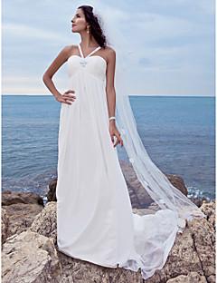 billiga Åtsmitande brudklänningar-A-linje Hjärtformad urringning Watteausläp Chiffong Bröllopsklänningar tillverkade med Bård av LAN TING BRIDE®