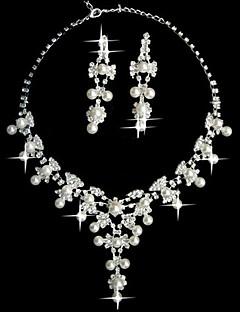preiswerte Schmuck Ausverkauf-Strass Perle Hochzeit Party Geburtstag Verlobung Alltag Aleación Ohrringe Halsketten