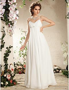 Sütun Spagetti Askılı Yere Kadar Şifon Boncuklama Drape Yan Drape ile Düğün elbisesi tarafından LAN TING BRIDE®