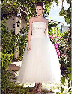 billiga Balbrudklänningar-Balklänning Axelbandslös Ankellång Tyll Bröllopsklänningar tillverkade med Bård / Draperad / Veckad av LAN TING BRIDE®