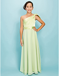 A-Line Sheath / Column One Shoulder Floor Length Chiffon Stretch Satin Junior Bridesmaid Dress withBow(s) Draping Sash / Ribbon Side