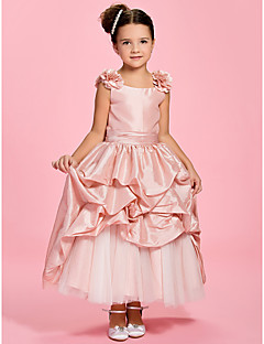 cheap Flower Girl Dresses-A-Line Ankle Length Flower Girl Dress - Taffeta Sleeveless Bateau Neck with Pick Up Skirt Sash / Ribbon Flower Ruched by LAN TING BRIDE®