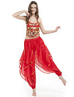 cheap Belly Dance Wear-Belly Dance Outfits Women's Performance Chiffon Beading Coins Sleeveless Natural