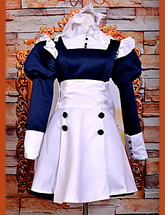 """billige Anime Kostymer-Inspirert av Svart Tjener Mey-Rin Anime  """"Cosplay-kostymer"""" Cosplay Klær / Kjoler Lapper Langermet Kjole / Pannebånd Til Dame Halloween-kostymer / Satin"""
