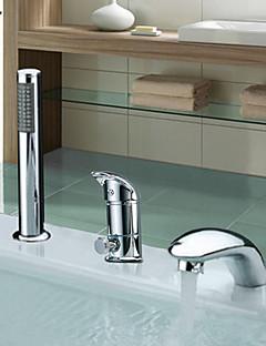 billige Romersk- bad-Moderne Romersk kar Utbredt Keramisk Ventil Tre Huller To Håndtak tre hull Krom, Badekarskran