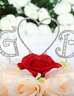 voordelige Receptie Aanbiedingen-Taarttoppers Klassiek Thema Harten Monogram Bruiloft Vuosipäivä Verjaardag Quinceañera & Sweet Sixteen met Strass OPP
