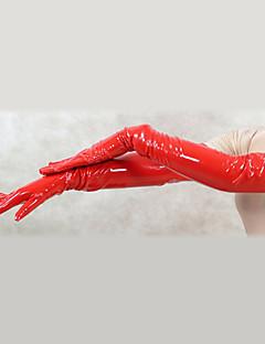 billige Zentai-Hansker Catsuit Huddrag Ninja Zentai Cosplay-kostymer Rød Ensfarget Hansker PVC Herre Dame Halloween / Høy Elastisitet