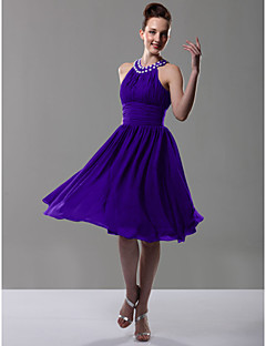 cheap Purple Passion-A-Line Princess Jewel Neck Knee Length Chiffon Bridesmaid Dress with Beading Draping Pleats Ruched by LAN TING BRIDE®