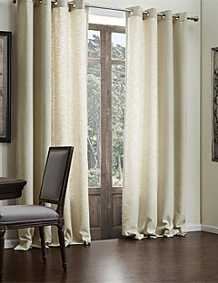 Curtains Drapes Living Room Solid Colored Polyester / Cotton Blend Faux  Linen