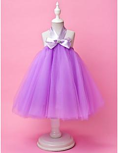 billige Skjørt-A-line ball kjole knelengde blomst jente kjole - tulle ermeløs halter med draping av lan ting bride®