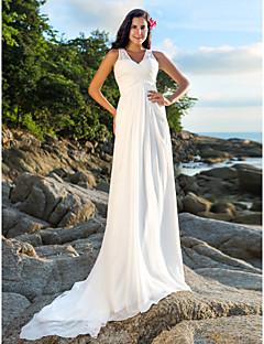 billiga Åtsmitande brudklänningar-A-linje V-hals Hovsläp Chiffong Bröllopsklänningar tillverkade med Bård / Paljett / Korsvis av LAN TING BRIDE® / Öppen Rygg