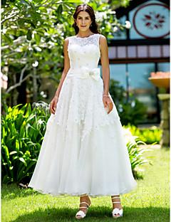 billiga A-linjeformade brudklänningar-A-linje Bateau Neck Ankellång Spets Bröllopsklänningar tillverkade med Applikationsbroderi av LAN TING BRIDE® / Liten vit klänning