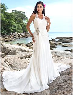 billiga Åtsmitande brudklänningar-Åtsmitande V-hals Kapellsläp Chiffong Bröllopsklänningar tillverkade med Bård / Korsvis av LAN TING BRIDE® / Öppen Rygg