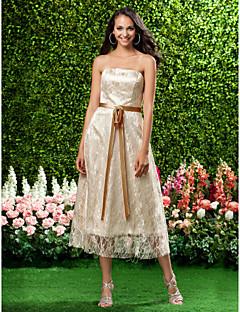A-Linie Princess Bez ramínek K lýtkům Krajka Šaty pro družičky s Mašle Krajka Šerpa / Stuha podle LAN TING BRIDE®