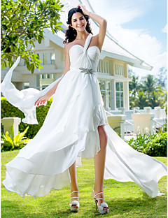 cheap Reception Dresses-A-Line One Shoulder Asymmetrical Chiffon Wedding Dress with Sash / Ribbon Criss-Cross Crystal Floral Pin Side-Draped by LAN TING BRIDE®