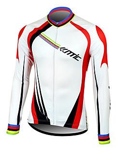 baratos Camisas Para Ciclismo-SANTIC Homens Manga Longa Camisa para Ciclismo - Branco Moto Camisa / Roupas Para Esporte, Térmico / Quente, Secagem Rápida, Respirável