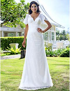 baratos Vestidos de Casamento de Manga Comprida-Tubinho Decote V Cauda Escova Renda Vestido de casamento com Renda de LAN TING BRIDE®