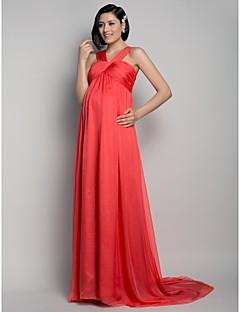 A-Şekilli Süpürge / Fırça Kuyruk Şifon Drape Haç ile Resmi Akşam Elbise tarafından TS Couture®
