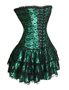 cheap Lolita Fashion Costumes-Corset Gothic Lolita Dress Black Red Green Lolita Accessories Print Polyester