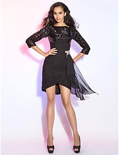 billige Paljettkjoler-Kappe / kolonne bateau hals kort / mini asymmetrisk chiffon sequined cocktail party kjole med ruffles av ts couture®