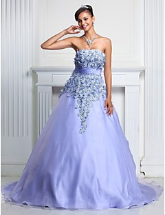 cheap Special Occasion Dresses-A-Line Ball Gown Strapless Court Train Organza Prom / Formal Evening / Quinceanera / Sweet 16 Dress with Lace Ruched by TS Couture®