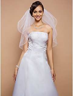 Two-tier Pencil Edge Wedding Veil Elbow Veils With Pearls 31.5 in (80cm) Tulle A-line, Ball Gown, Princess, Sheath/ Column, Trumpet/