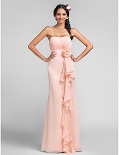 Sheath / Column Sweetheart Floor Length Chiffon Bridesmaid Dress with Draping Flower(s) Cascading Ruffles by LAN TING BRIDE®