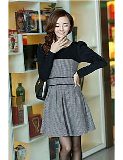 Women's Going out Skater Dress,Color Block Round Neck Above Knee Long Sleeves Others All Seasons Micro-elastic Medium