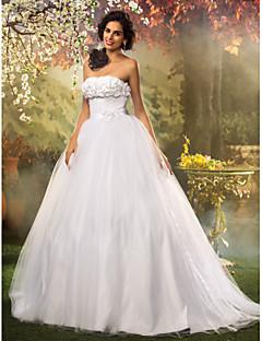 ランティングの花嫁ボールガウン小柄/プラスサイズのウェディングドレス床の長さストラップレスのレース/チュール
