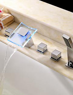 billige LED Badekarskran-Moderne Romersk kar Foss Hånddusj Inkludert LED Keramisk Ventil Fire Huller To Håndtak fem hull Krom, Badekarskran
