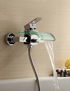 billige Foss-Dusjkran / Badekarskran - Moderne Krom Badekar Og Dusj Keramisk Ventil Bath Shower Mixer Taps / Messing / Enkelt håndtak To Huller