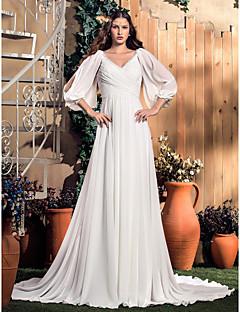 billiga Plusstorlek brudklänningar-A-linje V-hals Hovsläp Chiffong Bröllopsklänningar tillverkade med av LAN TING BRIDE®