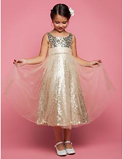 tanie Sukienki na co dzień-Krój A / Księżniczka Lekko nad kolana Sukienka dla dziewczynki z kwiatami - Tiul Bez rękawów Zaokrąglony z Cekin / Marszczenia przez LAN TING BRIDE®