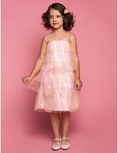 tanie Sukienki dla dziewczynek z kwiatami-Ołówkowa / Kolumnowa Lekko nad kolana Sukienka dla dziewczynki z kwiatami - Tiul Bez rękawów Zaokrąglony z Falbany / Plisy przez LAN TING BRIDE®