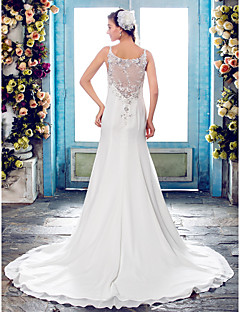 cheap Wedding Dresses-Mermaid / Trumpet Spaghetti Straps Court Train Chiffon Beaded Lace Custom Wedding Dresses with Beading Appliques by LAN TING BRIDE®