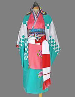 """billige Anime cosplay-Inspirert av Blå Eksorsist Shiemi Moriyama Anime  """"Cosplay-kostymer"""" Cosplay Klær Japansk Kimono Geometrisk Langermet Yukata Hodeplagg"""