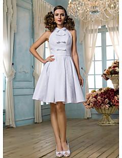 billiga Prinsessbrudklänningar-A-linje / Prinsessa Hög hals Knälång Spets Bröllopsklänningar tillverkade med Rosett / Draperad / Bälte / band av LAN TING BRIDE® / Liten vit klänning