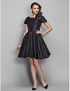 A-Line Princess Bateau Neck Knee Length Taffeta Cocktail Party Dress with Draping Pearl Detailing by TS Couture®