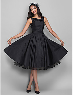 A-Line Cowl Neck Knee Length Taffeta Cocktail Party Homecoming Company Party Dress with Ruching by TS Couture®