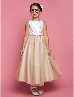 aラインのプリンセスアンクルの長さの花嫁の女の子のドレス - オーガンザサテンのノースリーブの宝石のネックのドレープとlan tingbride®