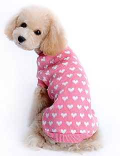 Cat Dog Sweater Dog Clothes Keep Warm Hearts Pink