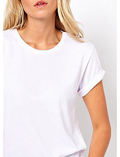 voordelige Dames T-shirts-Dames Schattig Uitgesneden Gat T-shirt Effen Strakke ronde hals