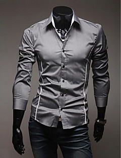 Men's Plus Size White/Black/Gray Casual Long Sleeve Basic Shirts